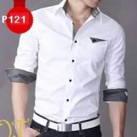 P121 Kemeja Hem Pria Putih Model Bos, Garmen Bisa Modif, Size Lengkap