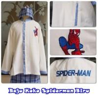 Baju KOKO Anak Karakter SPIDERMAN PUTIH BIRU (Size M)