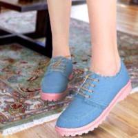 harga Sepatu Denim Jeans Kanvas Biru Boot Heels Wedges Tokopedia.com