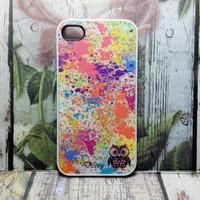 Hard Case Apple Iphone 4 & 4s Custom Name Owl Splash Paint