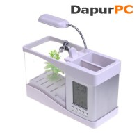 USB Desktop Aquarium Mini Fish Tank with Running Water [LS0404 White]