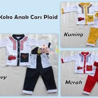 Baju Muslim Koko Anak Kartun Cars Plaid