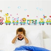 Funny Animals Train MJ7001 - Stiker Dinding / Wall Sticker (50x70)