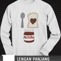 Jual kaos Panjang I love nutella funny tshirt distro custom clothing Murah