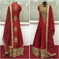 harga baju india original red anarkali full set Tokopedia.com