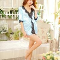 harga Kimono/Outer Sexy Lingerie Seksi Baju Tidur Renda Biru 5006Biru Tokopedia.com