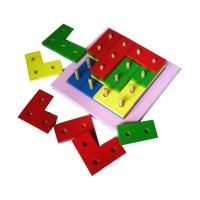 Jual Tetris 4 susun, mainan edukatif edukasi anak kayu balok SNI murah TK Murah