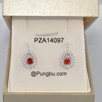 Anting tusuk putih oval mata merah zirconia PZA14097