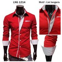 harga Kemeja Slimfit Model Korea Warna Merah Lng 1214 Tokopedia.com