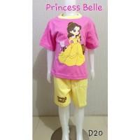 Setelan baju anak cewe dan celana pendek princess belle bahan cotton
