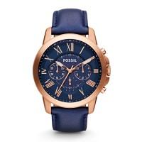 Jam Tangan FOSSIL Original Watch FS4835 Grant Chrono Blue Rose Leather