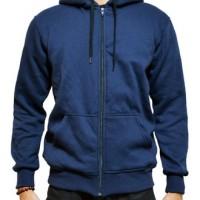 Jual Jaket Sweater Polos Hoodie Zipper/Resleting Biru Navy Murah