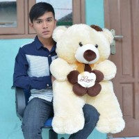 Jual Boneka Teddy Bear Love Flower Cream Besar 85 cm Murah