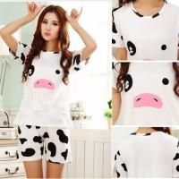 Stln238 - Setelan Pendek Cow Face Cute