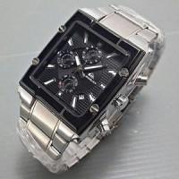 Jual Jam Tangan Pria Quicksilver Square Silver Black (Tanggal&Chrono Aktif) Murah
