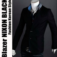 Blazer NIXON BLACK - Jas Pria Cowok Semi Formal Korean Style Casual