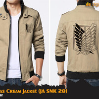 SNK Canvas Cream Jacket (Jaket Attack On Titan JA SNK 28)
