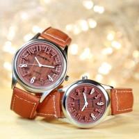 jam tangan fossil wanita kulit motif kayu
