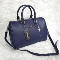 Charles & Keith Classic Bowling Bag - Dark Blue
