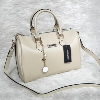 Charles & Keith Classic Bowling Bag - Cream