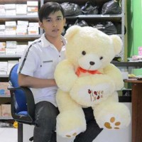 Jual Boneka Beruang Teddy Bear I Love You Cream Besar 80 cm (SNI) Murah