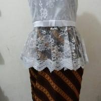 dress batik kombinasi brokat model peplum