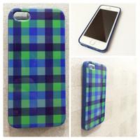 Case Iphone 5 / 5S Burberry Green (casing softcase) Motif Kotak