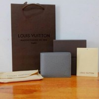 JUAL LOUIS VUITTON LV DOMPET TAIGA GREY MIRROR QUALITY 1:1 ORIGINAL
