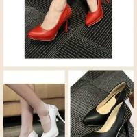 harga Sepatu import merah cerah studed paku kulit high heels 10 cm keren wnt Tokopedia.com