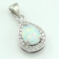 LIONTIN TANPA KALUNG Shining Elegant White Fire Opal Stone Water Drop