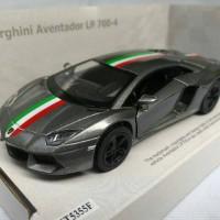Lamborghini Aventador Stripe Grey (Miniatur Mobil 1/32 Kinsmart)