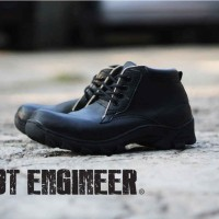 Cut Engineer Iron Safety Boots Loafers Leather - Hitam