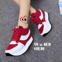 Sepatu Kets black red merah Keren Murah Wedges Platform Unik hitam