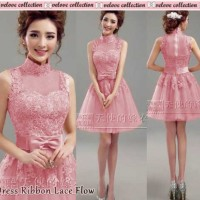 Dress Ribbon Lace Pink Harga@68rb Seri@65rb, Bhn Brukat Import Jersey