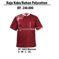 Busana Muslim Baju Koko Bahan Polycotton Zeintin AT 1602 Maroon