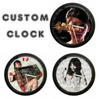 jam dinding custom, background foto mozaik