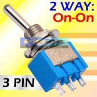 Saklar Toggle 3 Pin 2 Arah ON-ON Togel Switch Tuas MTS 102 Way Metal