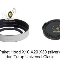 Paket Hemat Lens Hood Untuk Fuji X10/ X20/ X30 (silver) + Tutup Lensa
