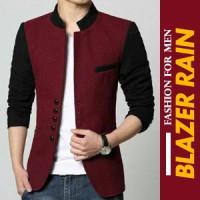 Blazer Rain Maroon Black - Blazer Pria slimfit model korea terbaru
