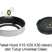 Paket Hemat Hood Fuji X10, X20, X30 (Silver) dan Tutup Lensa Universal