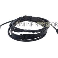 JWLB0068 Gelang Kulit Couple Pria Wanita (Black Leather Bracelet)