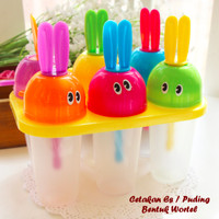 Cetakan Es / Puding Bentuk Wortel (1 set isi 6 pcs cetakan + 1 holder)