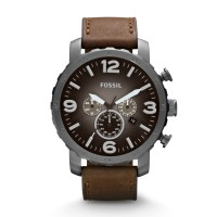 Jam Tangan FOSSIL Original Watch JR1424 NATE CHRONOGRAPH BROWN LEATHER