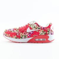 Sepatu Nike Air Max Motif Bunga Merah-Hijau/Putih kombinasi
