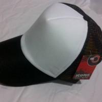 topi jaring polos hitam putih