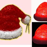 Topi Natal Santa Claus Kristal Beras Souvenir Lampu Unik Warna LED Nya