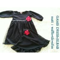 Gamis Dress + Jilbab Bayi 5 6 7 8 9 10 11 12 bulan (1 tahun) Hitam