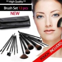 12 Pcs Make Up Brush Set with Leather Pouch