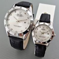 Jam Tangan Rolex Couple Leather Black Silver Harga Sepasang