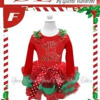 setelan baju natal  anak perempuan ( 2pc SExmas F~